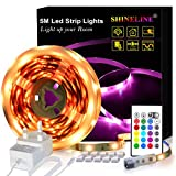 LED Strips Lights 5M, SHINELINE 16.4Ft RGB SMD 5050 Dimmer Led Strip Lights with Remote Mood Light for Home...