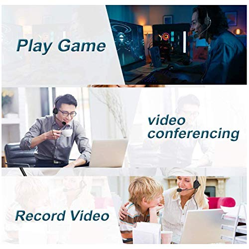 USB Headset, PC Headset mit Mikrofon Noise Cancelling & Lautstärkeregler, Computer Chat Headset für Skype, Webinar, Homeoffice, Gaming, E-Learning und Musik