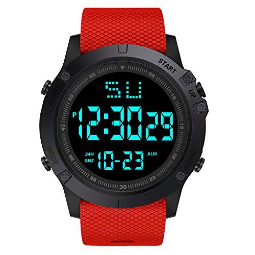 Sport Watch, 50M Waterproof Watch, Sport Wrist Watch for Men Women Kids, Digital Watch with Alarm Date and Time (Red -6)