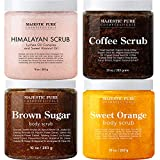 Majestic Pure Himalayan Scrub, Orange Scrub, Brown Sugar Scrub, and Coffee Scrub Bundle – Great Body Scrub Package
