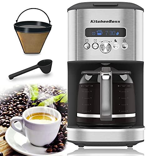 Filter-Kaffeemaschine mit Dauerfilter&Glaskanne von KitchenBoss: | 1.8L Programmierbare Kaffeemaschine, 12 Tassen Filterkaffeemaschine mit Timer,900 W,Edelstahl Filterkaffeemaschine