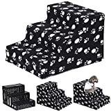 HH- Carpeted Pet Stairs, 3 Steps Pet Ladder for Small Medium Dogs/Cats, Removable/Washable Cover Ramp - Black, 35cm×45cm×30cm
