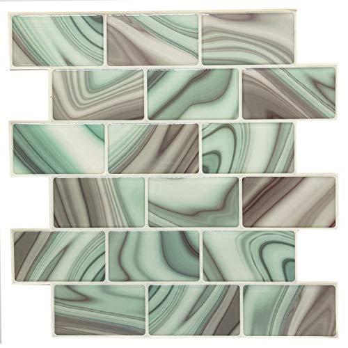 Pegatinas de Pared de Baldosa Efecto 3D, Pegatina de Azulejo Auto-Adhesivo Decorativo Impermeable para Cuarto de Baño y Cocina, 25.4x25.4cm, 6 Piezas por paquete (Rec DEC858)
