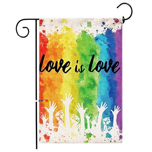 Jasel Gay Pride Garden Flag,Burlap Double Sided Banner Yard LGBT Rainbow Flag,Outdoor Watercolor Splash LGBT Pride Decor Small Garden Flag 12x18 Prime