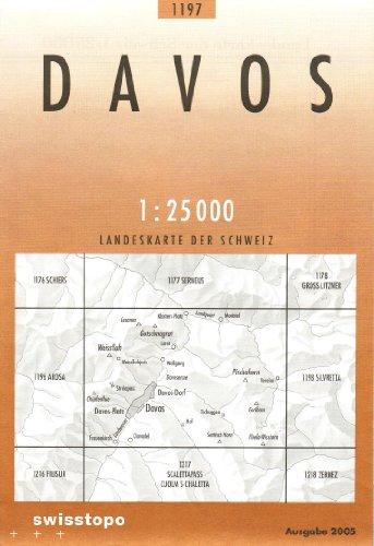 1197 Davos: Weissfluh - Klosters - Flüelatal (Landeskarte 1:25 000)