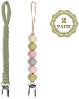 SUGEE Pacifier Clips Universal BPA Free Silicone Beaded Binky Holder & Soft Braided Pacifier Holder for Boy and Girl,Baby Shower Gift (Green)