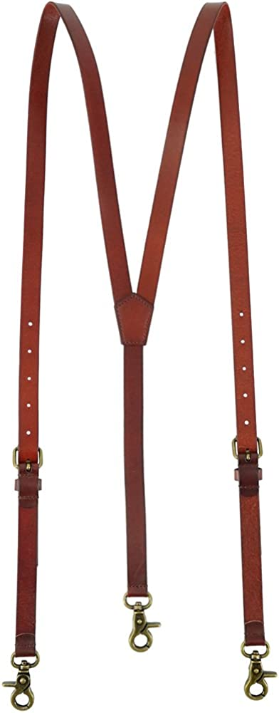 outlet Men's Reddish Brown Shiny Leather Steampunk Suspenders Genuine New arrival