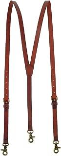 Men's Reddish Brown Shiny Genuine Leather Suspenders, Steampunk Style Y back Adjustable Belt Loop, 3 Snap Hooks