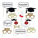 7-gost 17PCS 2021 Graduation Grad Party Masks Photo Booth Props Mustache on A Stick
