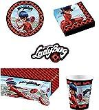 Ladybug Kit Anniversaire Miraculous Complet 16 Enfants (16 Assiettes, 16 gobelets, 20 Serviettes, 1 Nappe + 10 bougies magiques) fête