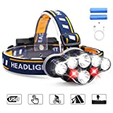LED Head Torch, MOSFiATA Super Bright Headlamp 13000 Lumens Rechargeable Headlight,90 Degree Angle