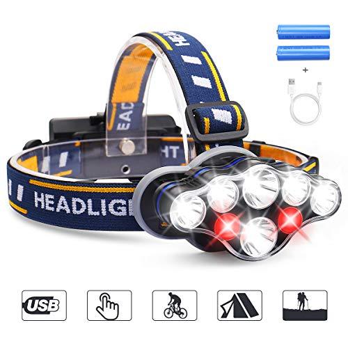 Stirnlampe MOSFiATA superheller Kopflampe 8 LED 8 Modi 13000 LM mit Warnleuchte,Stirnleuchte USB und 2xBatterien Wasserdicht,Kopfleuchte f¨¹r Camping,Fischerei,Keller,Joggen,Wandern