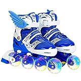 DelaspeIlluminating Inline Skates Patins à roulettes réglables pour Enfants avec Roues Lumineuses, pour l'extérieur et l'intérieur