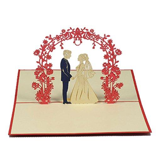 Favour Pop Up Glückwunschkarte zur Hochzeit. Ein filigranes Kunstwerk, dass beim Öffnen mit einem Hochzeitspaar unter Rosenstrauch überrascht. TW001