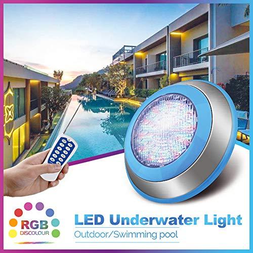 SMAA LED-Unterwasserpool-Lichter, 12V RGB-Farbmischung, an der Wand befestigte Oberfläche IP68 wasserdicht, für Dekorieren Pool, Steingarten, Brunnen, Teich,54w