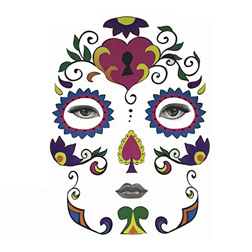 YGbuy Arte Facial Temporal De Halloween MáScara A Prueba De Agua Tatuaje De Calavera De AzúCar Etiqueta De Belleza Buena DecoracióN De La Cara Etiqueta De Halloween Cesta Colgante De Caramelo