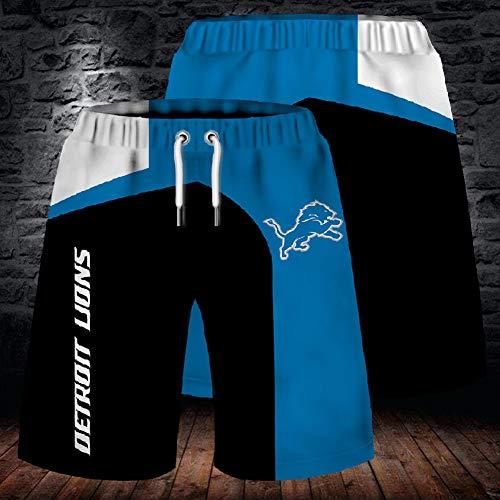 SryWj Pantalones Cortos de Verano de la NFL para Hombres, Pantalones de Playa Detroit Lions, Pantalones de chándal Transpirables teñidos y teñidos en 3D para Entrenamiento y Carrera al Aire Libre