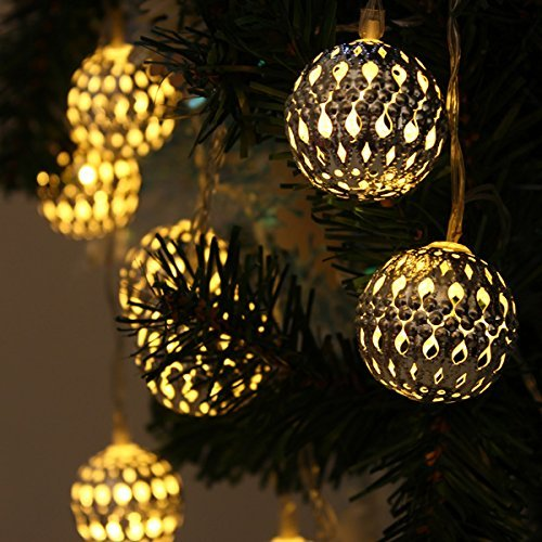 Xcellent Globe Lights - Moroccan Globe Lights, Yellow, Metal, Waterproof, 12 LED Solar Lights with 2 Modes for Tree Ornaments, Outdoor Decoration, Gardens, Homes, Weddings, LD042