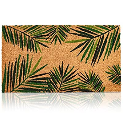 Coco Coir Door Mat – Welcome Mat Front Doormat Rugs with PVC Anti-Slip Backing for Home Indoor/Outdoor Floor Entrance - Tropical Green Palm Leaves Design, Brown, 30 x 17.2 x 0.5 Inches