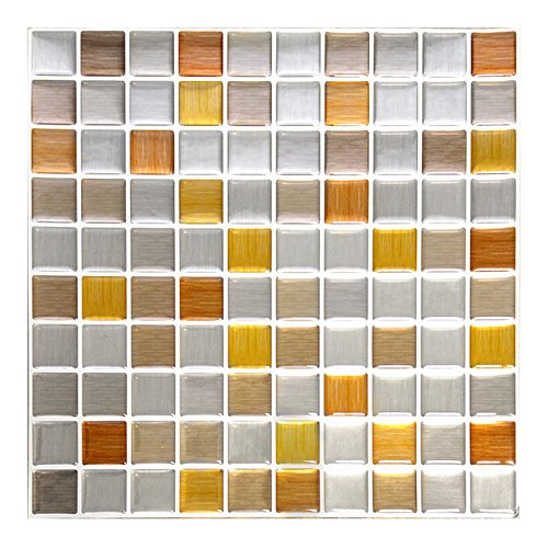 Wandora Pack of 4 10 x 10 Inch Self-Adhesive 3D Mosaic Tile Stickers W1433 Copper Dark Grey Silver