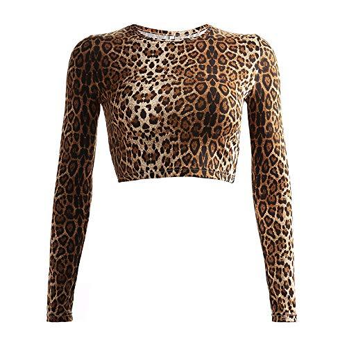 Women Leopard Printed Long Sleeve Crop Top Short T-Shirt (L)