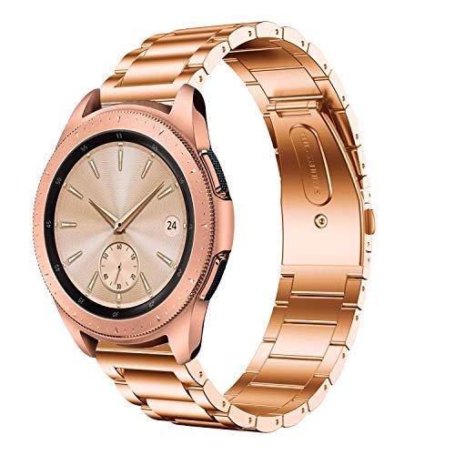 Anrir for Garmin Vivoactive 3 Watch Band, 20mm Stainless Steel Watch Strap for Garmin Forerunner 645 Music/Vivoactive 3 Music/Samsung Galaxy Watch 42mm/ Galaxy Watch Active 40mm Smart Watch-Rose Gold