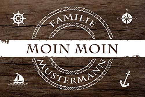 Eule-Design Personalisierte Fußmatte Heimathafen mit Namen Ihr Geschenk für Familie Paare Männer Frauen (60x40, Holz Motiv)