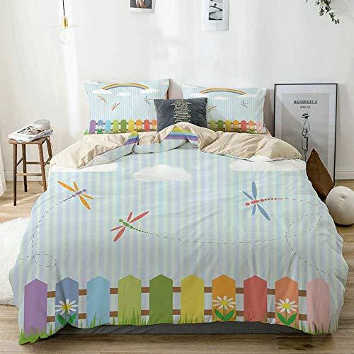 Juego de funda nórdica beige, libélulas de colores flotando sobre las cercas en un día soleado de arco iris, tema de guardería infantil, juego de cama decorativo de 3 piezas con 2 fundas de almohada,