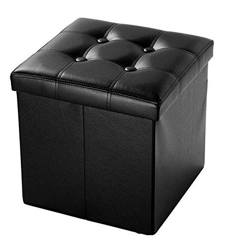Azadx 15' Storage Ottoman, Faux Leather Folding Storage Tufted Ottoman Cube Foot Rest Stool Seat, Square Shape Footstool, Versatile Storage Box (15' Black Style2)