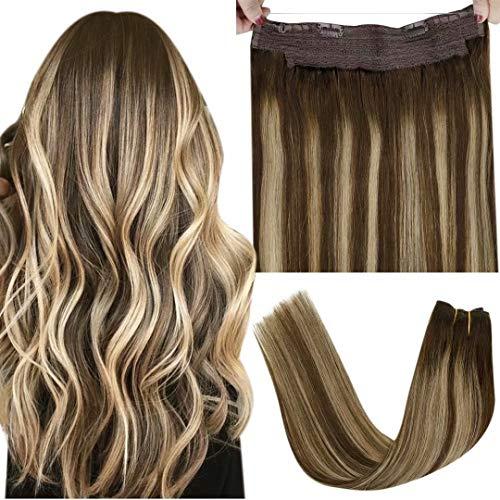 Fil Hair Extensions Human Hair - LaaVoo Fil Extension Fil Invisible Cheveux Naturel Marron Foncé Ombre A Blonde Cendrée Balayage Double Weft Fil Extensions De Cheveux Lisse 80g 12Pouce/30cm