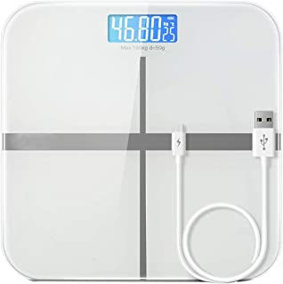 YQSHYP Weight Scale, High Precision Square Electronic Bathroom Scales - Toughened Glass,Easy To Read Digital Display, Instant Precise Reading with Step-On Feature,Silver
