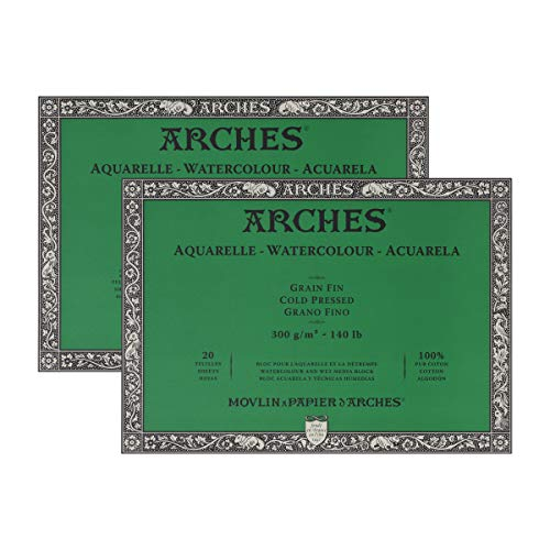 Arches Watercolor Paper Block, Cold Press, 9' x 12', 140 Pound - 2 Pack