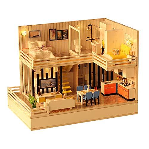 DIY Dollhouse, handgemaakte houten poppenhuis, DIY Cottage Small House Model kerstcadeau voor slimme draadloze Bluetooth-luidspreker(Met stofbescherming)