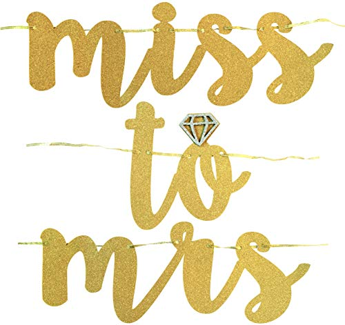 Miss to Mrs, Let's Party Bitches Banner Set. Bachelorette, Engagement or Wedding Party Decorations. 2 Sparkly Banners with Super Fun Diamond Ring and Circle Confetti (Gold)