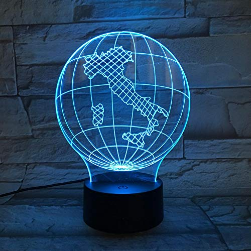 tzxdbh Led3D Illusion Smart 7 kleuren nachtlampje tafellamp met USB Power Cordnationaal Map Italië illusie Rens Globetouch tafellamp, kinderkamer, nachttafellamp