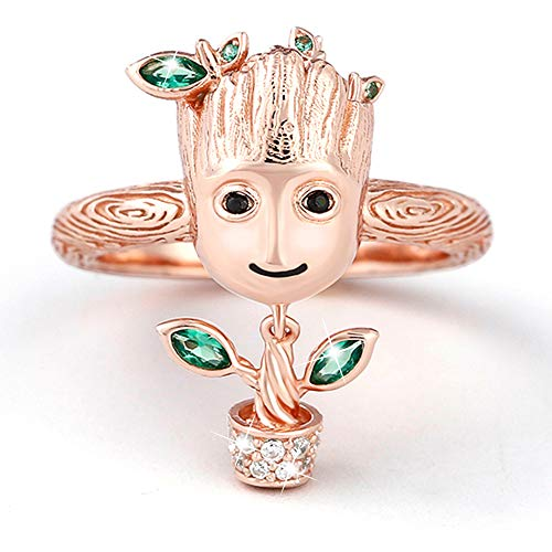 Jeulia' I am Groot' Tree Man Rings for Women Men 925 Sterling silver Halloween Rings Cute Cubic Zirconia Rings For Movie Fans Romantic Jewelry Gift For Teen Girls Boys (rose gold, O-½)
