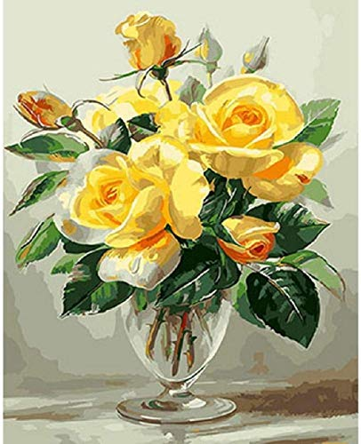 DIY Oil Painting Paint by Numbers for Adults Kids Paintworks-Yellow Rose-Gift Artistic Personality Casual Game Fun Toy Suitable for Family Friends 40X50Cm (No Frame) (DIO077)