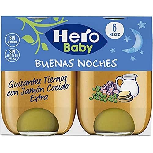 Hero Baby Buenas Noches Potito de Guisantes Tiernos Jamón Cocido para Bebés 6 meses Pack de 2 x 190 g