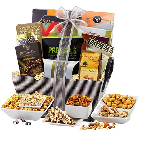 Sweet and Savory Gift Basket with Chocolates, Seasoned Nuts, Brittle, Pastries, Assorted Sweets &...