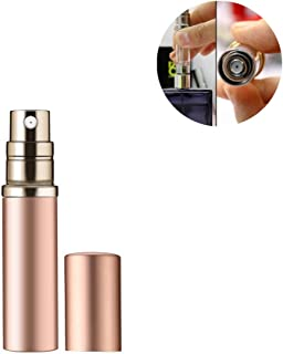 Refillable Perfume Bottle Atomizer for Travel, Yeejok Portable Easy Refillable Perfume Spray Pump Bottle for Men and Women with 5ml Pocket Size-Rose Gold