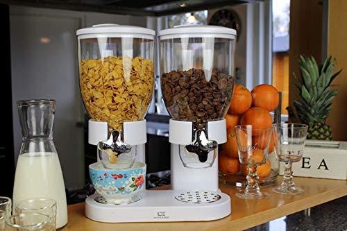 RHP - Dispensador de cereales, dispensador de cereales, dispensador de cereales, doble dispensador para cereales, copos de maíz y cereales - blanco