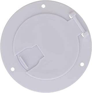 Dumble Deluxe Round Electric Cable Hatch for 30 and 50 Amp RV Electric Cord – RV Camper Electric Cord Cover, White