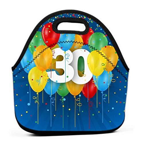 Lunch Tote Bag Cute Lunch Box Lunchbox Gran bolsa de almuerzo reutilizable Happy Th Birthday Tarjeta de aniversario Globos Colorful Tti Fondo azul oscuro Diversión