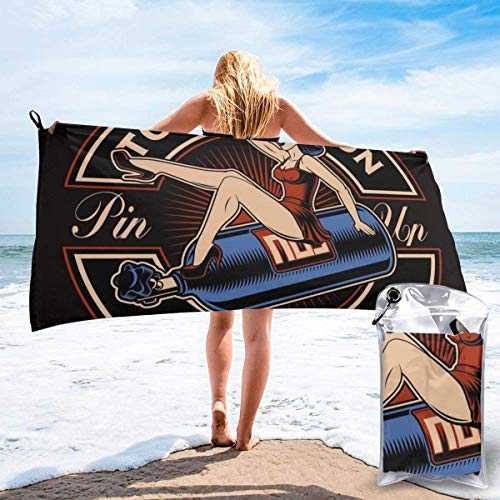 Hogar y Cocina Baño Textiles de baño Toallas Toallas de Playa Quick Dry Pool Beach Bath Towel Cat with Middle Finger Go Away Cool Design Ultra Absorbent and Mesh Bag for Travel Sports Camping Beach