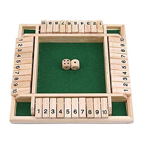033 2-4 Joueurs Shut The Box Fermé La Boîte en Bois Table Jeu De Société Classique Nombre Dés Family Math Game pour Enfants et Jeu de Société Pub pour Adultes(Vert)
