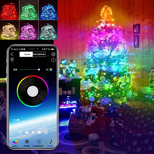 LYF luci albero di natale, luci Natalizie a Strisce LED controllate da App 20m, USB Bluetooth String Light Copper Wire String Light luci Decorative per Alberi di Natale Luci a Strisce