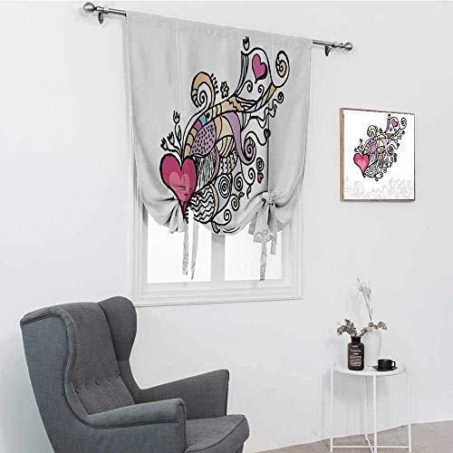 GugeABC Doodle - Abat-jour pour fenêtre - Motif d'un cœur volant - Bannière avec objets - Inspiré de la Saint-Valentin - Pour la maison - Multicolore - 106,7 x 182,9 cm