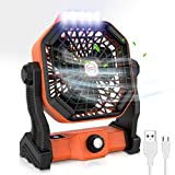 RUNACC Camping Fan with Portable LED Camping Lantern Work Light 5000mAh USB Rechargeble Battery Operated Fan, Quiet Tent Fan for Outdoor, Camping, Home, Office