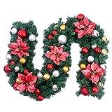 HAOJON Pre-Corona, Guirnalda Decorada con Bola de Flores de Navidad con 2,7 m, Rojo, para barandilla, repisa, Puerta de Escalera (tamaño: Paquete de 5)