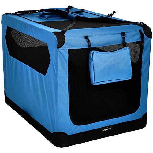 AmazonBasics – Transportín para mascotas abatible, transportable y suave de gran calidad, 1 m, Azul